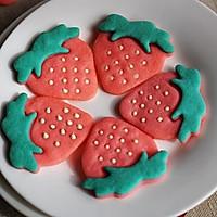 超萌的草莓饼干【拼贴饼干简单做】
