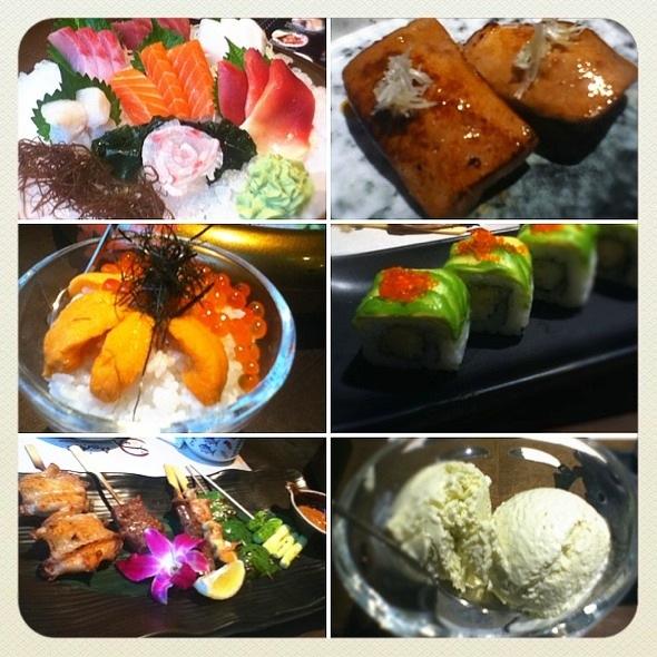 刺身小拼盘,火炽鹅肝寿司,海胆鱼子杯仔饭,牛油果蟹子天妇罗虾卷,串烧